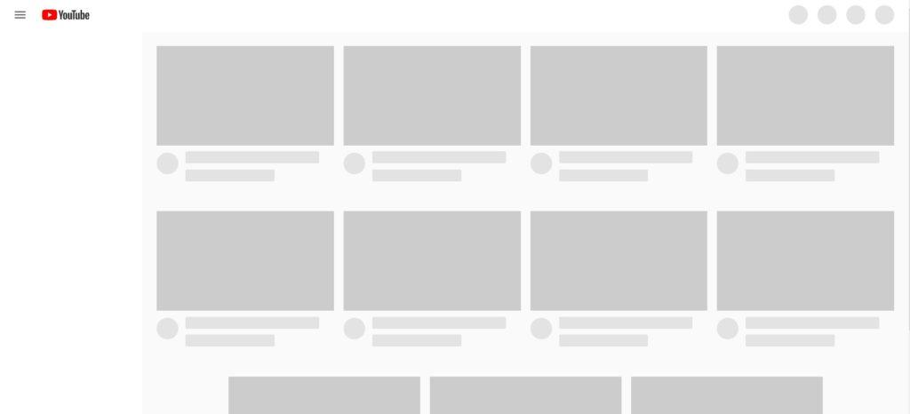 скелетный экран youtube